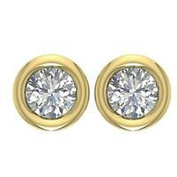 Solitaire Studs Earrings SI1 G 0.65 Ct Natural Diamond Bezel Set 14K Yellow Gold