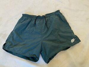 Vintage Nike swim trunks short with lining logo surfer green medium