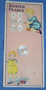 0105  Antique Romper Pearls mother of pearl shell button card, Kids graphic
