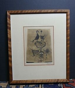 1956 Johnny Friedlaender 4 Color Aquatint Etching Deux Oiseaux III Abstract WOW!