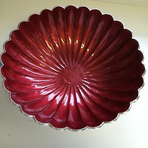 "NEW - JULIA KNIGHT PEONY 15"" ROUND BOWL - POMEGRANATE"