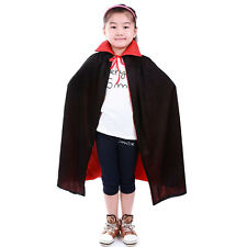 Awesome Kids Cloak. Black with Red Collar. Witch Wizard or Vampire. Robe Cape