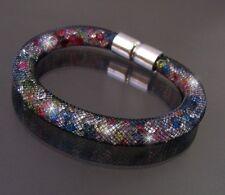 Bracelet 20cm Rhinestone Crystals Multicolour AC Hose Stainless Steel Magnetic