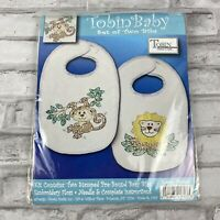 Tobin Bib Pair Kit Stamped Cross Stitch Monkey Lion Jungle New In Package T21753