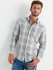 Lucky Brand Santa Fe Western Shirt Mens XL Saturday Stretch Grey Plaid NEW $70