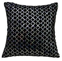 ms01a Black Shimmer Silver Starlight Sequin Checked Decorative Cushion Cover