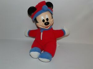 Vintage Mattel Red & Blue Plush Hug & Glow MICKEY MOUSE ~ No battery Pack (*21)