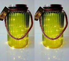 20 LED Solare Lanterna vaso con maniglia e corda giardino esterni lampada luce rosa