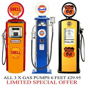 3X 6 FT LIFESIZE VINTAGE SHELL GULF ROUTE 66 GAS PUMPS WHITE BACK CANVAS POSTERS