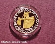 2008 GOLD SILHOUETTE SILVER PROOF £1 COIN IN CAPSULE - Menai Straits Bridge
