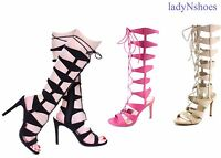 NEW Women's Open Toe Zip Strappy Lace Up Gladiator Heel Sandal Shoes Size 6 - 10