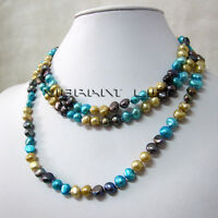 "50"" 6-8mm Champagne Gray Blue Baroque Freshwater Pearl Necklace UK"