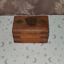 VINTAGE POKER WOODEN BOX FOR CARDS FOLDS 2 PACKS ,UK FREE SHIPPING