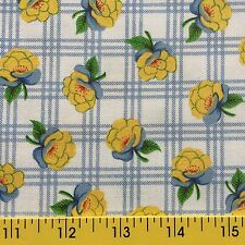 GARDEN MARKET FLORALS cotton fabric PLAID YELLOW ROSES for sewing or quilting