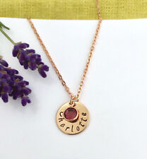 Rose Gold Tone Personalised Hand Stamped Name Pendant Birthstone Necklace Gift