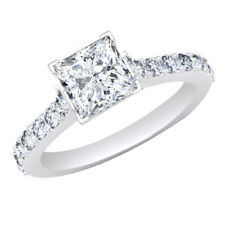 PRINCESS CUT 2.27Ct CATHEDRAL ENGAGEMENT RING WITH ACCENTS IN 14K SOLID GOLD