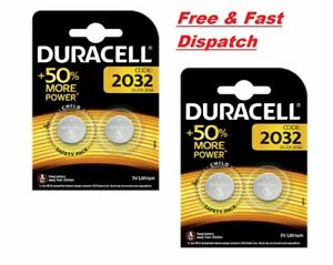 4 x Duracell CR2032 3V Lithium Coin Cell Battery 2032 button DL2032 Br