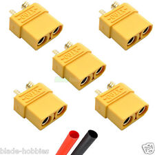 5 female XT90 lipo batterie connecteurs + heatshrink rc avion hélicoptère voiture uk