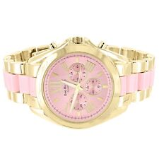 Womens Pink & Gold Two Tone Wrist Watch Round Face Sterling Silver Back Analog
