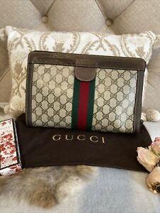 GUCCI Beige GG Web Supreme Canvas Striped Clutch Pouch Bag Vintage MUST HAVE❣️