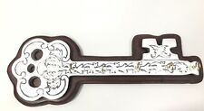 Pewter  And Wood  Wall Mounted Key Shaped Key Holder