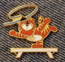 Gymnastics~Balance Beam Olympic Pin ~ 1988 Seoul ~ Mascot ~ Hodori the Tiger
