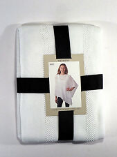 Celeste Poncho Wrap Shawl White Cotton Blend Women One Size New