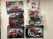 Lego Technic Street Bike 8420 + Lego Snow Groomer 8263 Two Sets Check Pics
