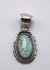 Navajo Sterling Silver #8 Turquoise Handmade Pendant - Gilbert Tom