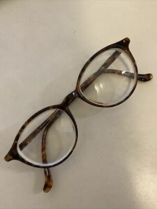 Vintage Oliver Peoples Eyeglasses Frames Round Brown Havana Tortoise OP-44 CLB