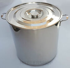 70L COMMERCIAL STOCK POT WITH LID STAINLESS STEEL HOME BREW BEER LARGE GIANT