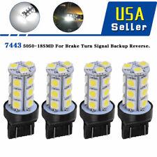 4x White 7443 18-SMD LED Light Bulbs Turn Signal Backup Reverse T20 7440 7441