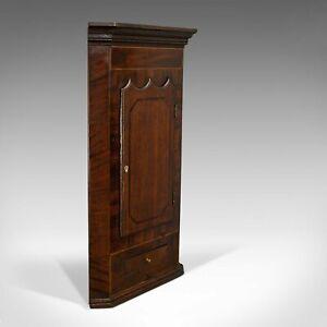 Antique Corner Cabinet, English, Oak, Mahogany, Wall Hanging, Georgian, C.1800