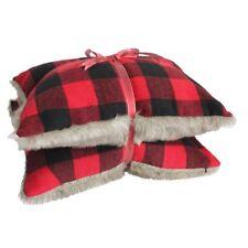 2 pc Throw Pillow Buffalo Check Coussin en fourrure synthétique Support Plaid rouge decor Coussin