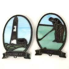 Vtg Lot Forma Vitrum Pewter Stained Glass Suncatcher Ornament Golfer Lighthouse