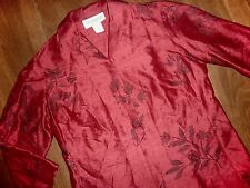 EASY SPIRIT - ELEGANT EMBROIDERED CRANBERRY SILK TUNIC BLOUSE - MISSES 0
