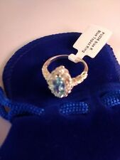 Costume Silver Plated Pale Blue Topaz Ring -  Size R - With Velvet Gift Pouch