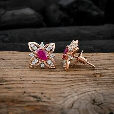 Flower Earrings Synthetic Ruby Stud Earring White CZ Jewelry For Valentine Gift