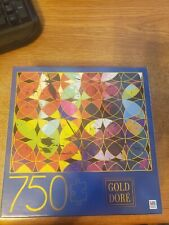 """Gold Dore Abstract Circles 750 Piece Jigsaw Puzzle Milton Bradley NEW 27""""x20"""""""