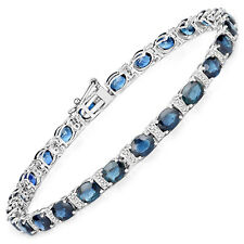 14K White Gold Bracelet 9.90 ct Blue Sapphire Diamond Oval Gemstone 7.00 inches