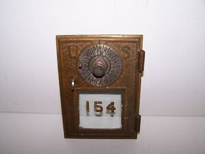RARE Vintage Antique Brass US Post Office Box Door