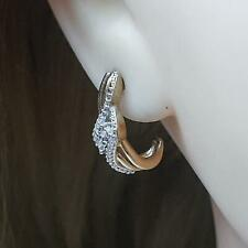 Genuine .22ctw H-SI Diamond 14K Yellow Gold 925 Sterling Silver Earrings 3.8g