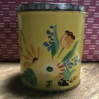 Vintage Ransburg Metal Tin Canister Small Yellow Hand Painted Flowers No Top