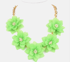 Absolutely Fabulous Stunning Zara Lime Green 3D Crystal Petal Statement Necklace