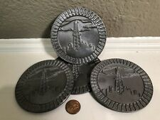 VTG '82 Metal Pewter Crude Oil Well Drilling Tower Field Beverage Drink Coasters