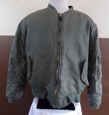 Vtg MA-1 Flight Jacket Reversible Intermediate Olive Green/Orange Mens Sz L