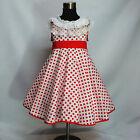 W3122 Reds Whites Polka Dot Christmas Party Girls Dress SIZE 2,3,4,5,6,7,8,9,10T