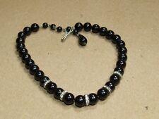 Vintage Art Deco Faux Onyx & Rhinestone Rondelle True Choker Necklace