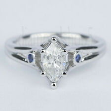 Moissanite Engagement Ring 925 Sterling Silver Near White 1.04 Ct Marquise Fancy