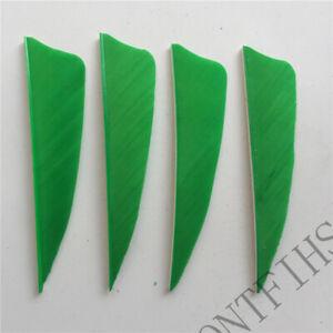 50PCS 3inch Light Green Shield Fletches Feathers Fletching Vanes RW LW